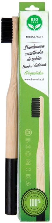 Spazzolino da denti in bambù, morbido, nero - Biomika Natural Bamboo Toothbrush