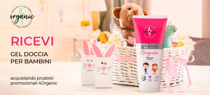 Acquista uno shampoo-gel doccia 4Organic e ricevi in regalo un gel doccia per bambini