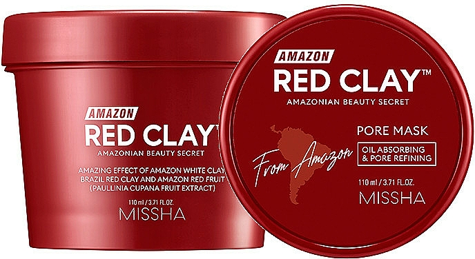 Maschera viso a base di argilla rossa - Missha Amazon Red Clay Pore Mask