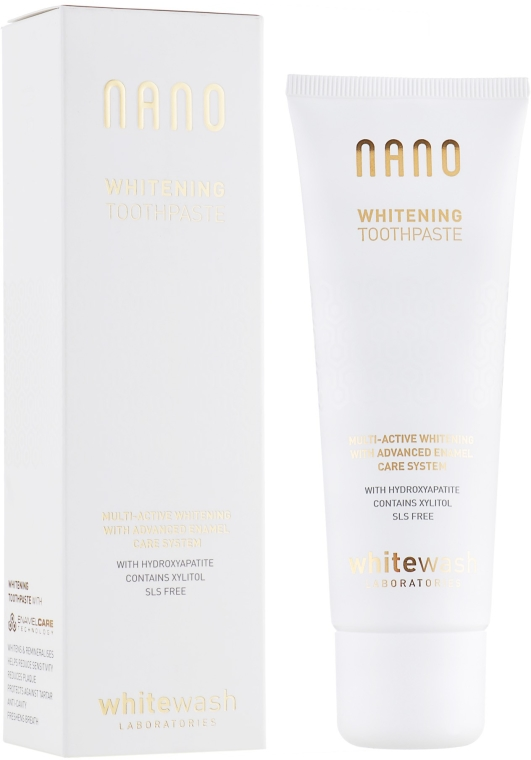 """Dentifricio """"Sbiancamento + rimineralizzazione con idrossiapatite"""" - WhiteWash Laboratories Nano Whitening Toothpaste"""