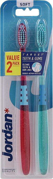 Spazzolini da denti, morbidi, 2pz, viola e verde - Jordan Target Teeth Toothbrush  — foto N1