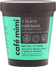 "Profumi e cosmetici Maschera per capelli ""3 Argille"" - Cafe Mimi 3 Clays Hair Mask"