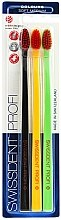 Profumi e cosmetici Set spazzolini per i denti, medio morbidi, nero + giallo + verde - SWISSDENT Profi Colours Soft-Medium Trio-Pack