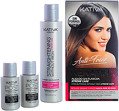 Profumi e cosmetici Set - Kativa Anti-Frizz Straightening Without Iron Xtreme Care (mask/150ml + shm/30ml + cond/30ml)