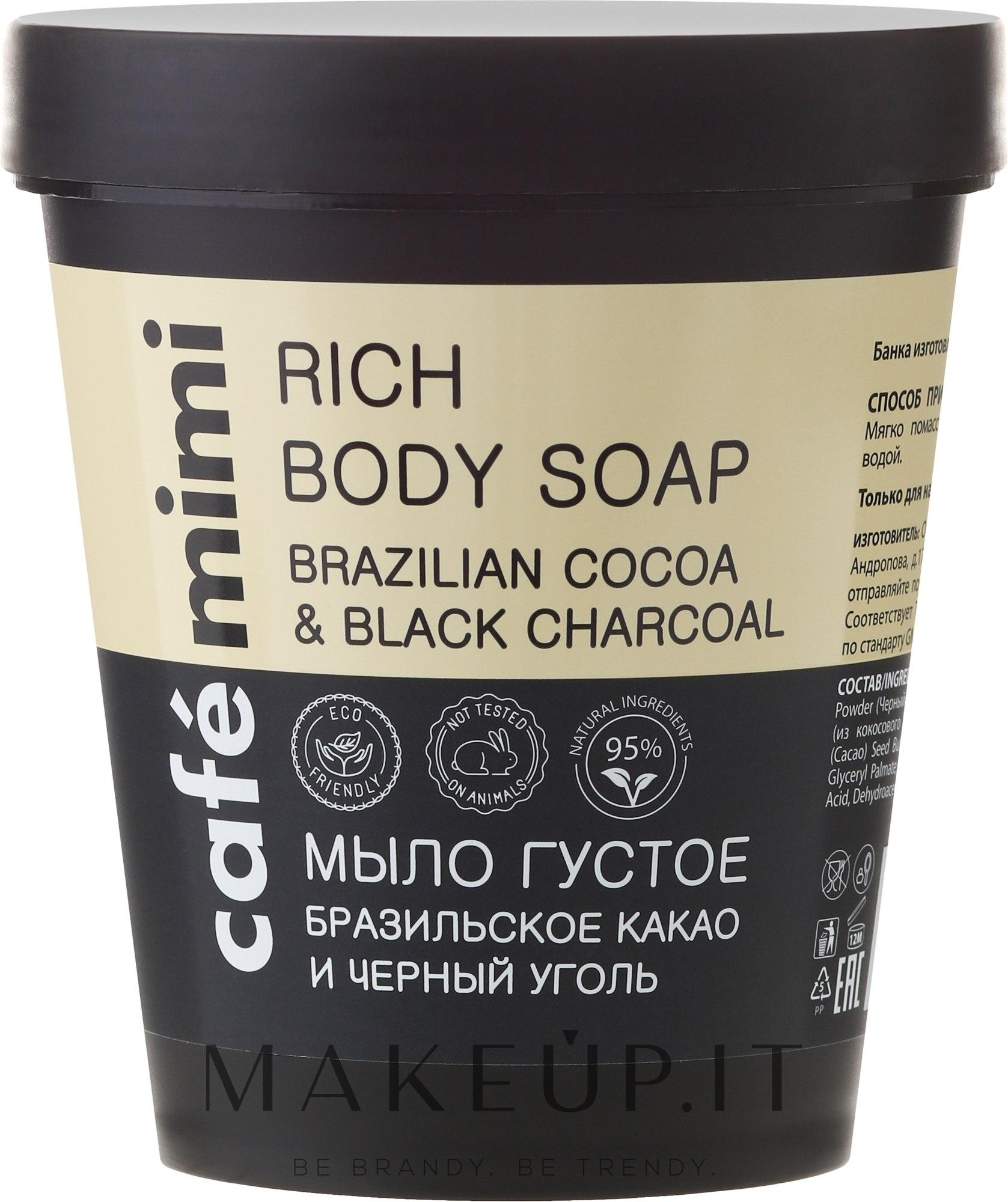 """Sapone liquido """"Cacao brasiliano e carbone nero"""" - Cafe Mimi Soap — foto 220 ml"""