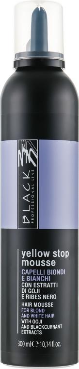 Schiuma anti-ingiallimento per capelli grigi decolorati - Black Professional Line Yellow Stop Mousse