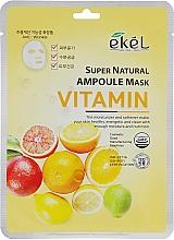 Profumi e cosmetici Maschera in tessuto con complesso vitaminico - Ekel Super Natural Ampoule Mask Vitamin