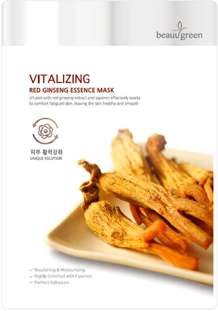 Maschera in tessuto con estratto di ginseng rosso - Beauugreen Vitalizing Red Ginseng Essence