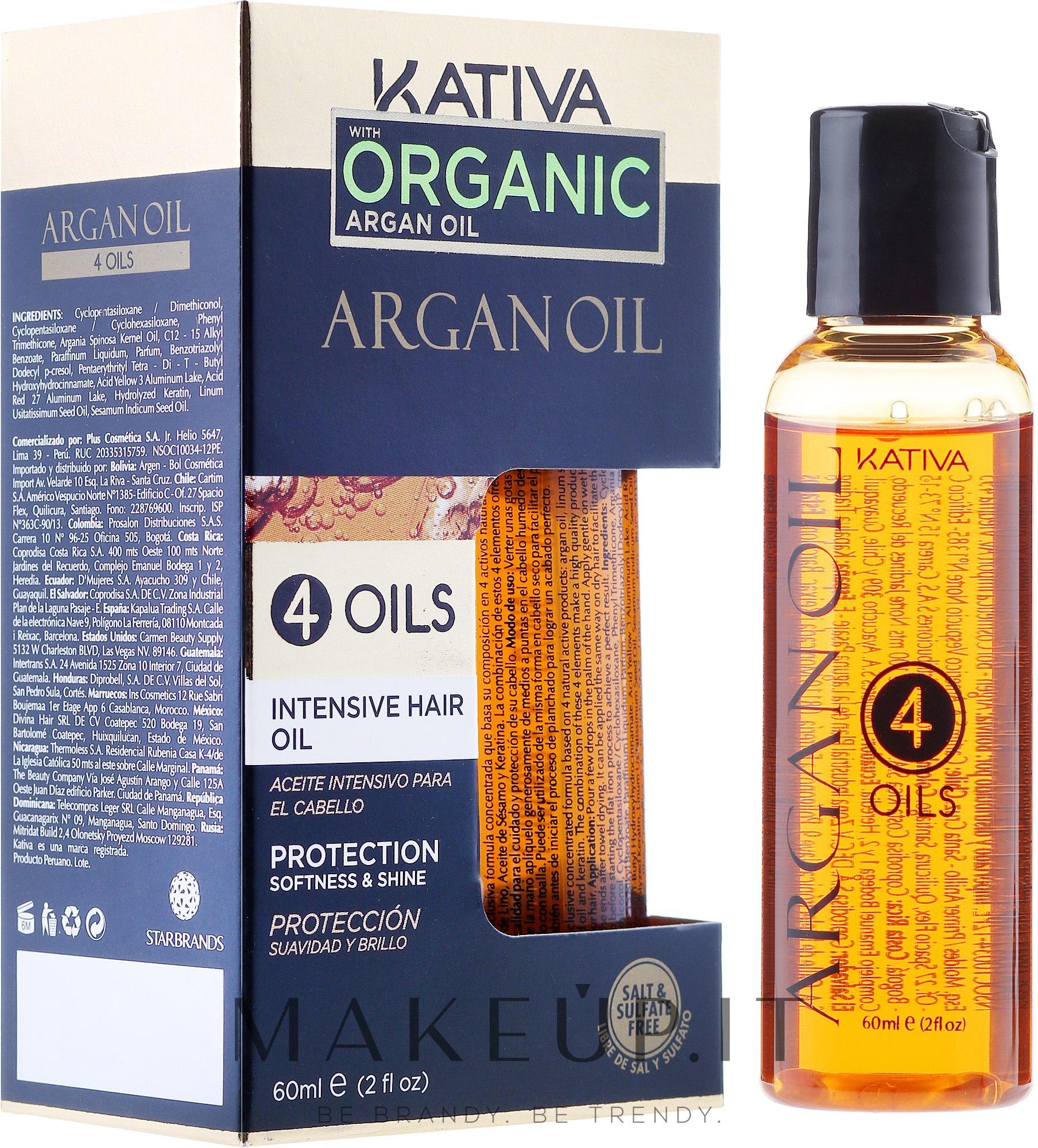 """Concentrato rigenerante e protettivo per capelli """"4 oli"""" - Kativa Argan Oil — foto 60 ml"""