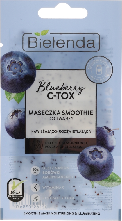 Maschera-smoothie idratante e illuminante - Bielenda Blueberry C-Tox Face Mask
