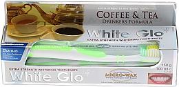 """Profumi e cosmetici Set """"Per gli amanti del tè e del caffè"""", spazzolino da denti, verde - White Glo Coffee & Tea Drinkers Formula Whitening Toothpaste (toothpaste/100ml + toothbrush)"""