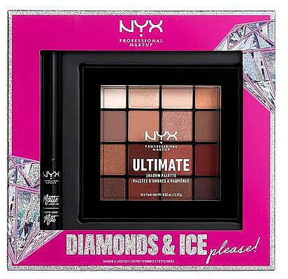 Set - NYX Professional Makeup Diamonds & Ice Please Shadow & Liner Set (sh/palette/16x1.18g+liner/2ml)