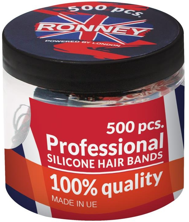 Elastici capelli, in silicone, neri - Ronney Professional Silicone Hair Bands