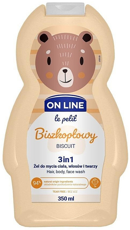 """Bagnodoccia per bambini """"Biscuit"""" - On Line Le Petit Biscuit 3 In 1 Hair Body Face Wash"""