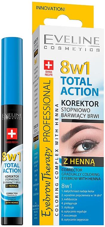 Correttore per sopracciglia - Eveline Cosmetics Eyebrow Therapy 8in1 Total Action ECorrector Gradually Coloring Eyebrow With Henna