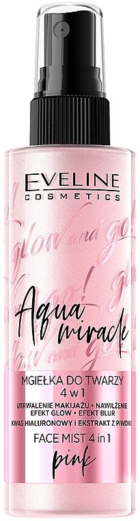 Spray viso rinfrescante - Eveline Glow And Go! Aqua Miracle Face Mist 4in1 Pink