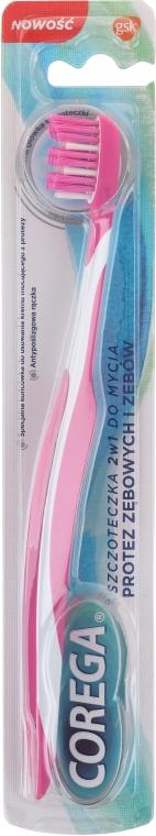 Spazzola 2 in 1 per denti e dentiere, rosa - Corega — foto N1