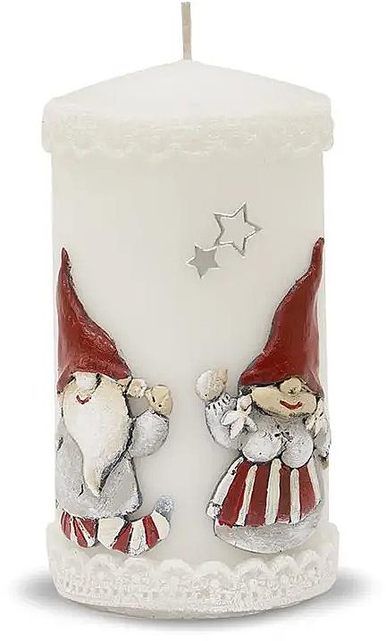 Candela decorativa, bianca, 7x14cm - Artman Dwarves — foto N1