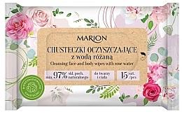 Profumi e cosmetici Salviette detergenti per viso e corpo con acqua di rose, 15 pezzi - Marion