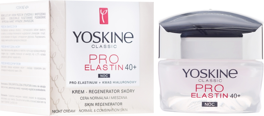 Crema anti-età da notte per la pelle normale e mista - Yoskine Classic Pro-Elastin Face Cream 40+