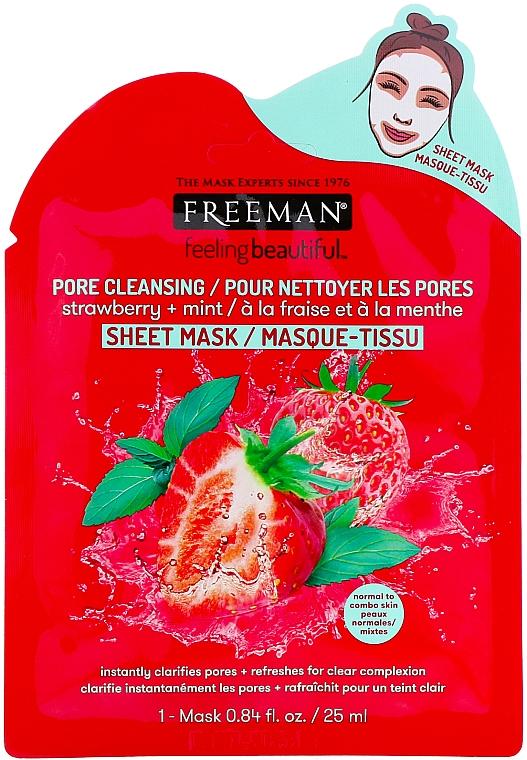 "Maschera purificante in tessuto ""Fragole e Menta"" - Freeman Feel Beautiful Pore Cleansing Sheet Mask"