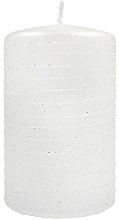 Profumi e cosmetici Candela decorativa, cilindro, piccola, bianca - Andalo Metalic