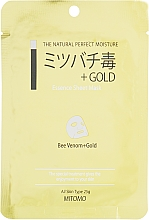 "Profumi e cosmetici Maschera viso in tessuto ""Oro e veleno d'api"" - Mitomo Essence Sheet Mask Bee Venom + Gold"