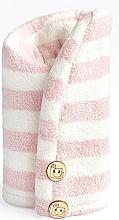 Profumi e cosmetici Asciugamano per capelli in microfibra, rosa + bianco - Trust My Sister