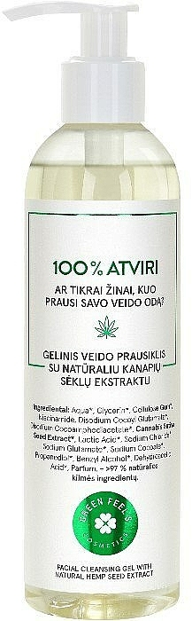 Gel detergente viso con estratto naturale di semi di canapa - Green Feel's