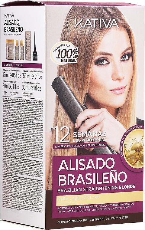 Set per capelli, lisciante alla cheratina, per bionde - Kativa Alisado Brasileno Straighten Blonde (shm/15ml + mask/150ml + shm/30ml + cond/30ml)