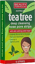 Profumi e cosmetici Cerotti purificanti per la pelle del naso - Beauty Formulas Tea Tree Deep Cleansing Nose Pore Strips