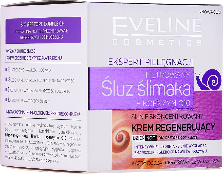 Crema viso antietà - Eveline Cosmetics Skin Care Expert Snail Slime Filtrate + Coenzyme Q10 Cream