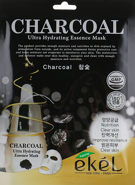 Maschera in tessuto al carbone - Ekel Charcoal Ultra Hydrating Essence Mask
