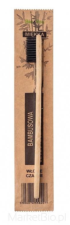 Spazzolino da denti in bambù, morbido, nero - Bio4You