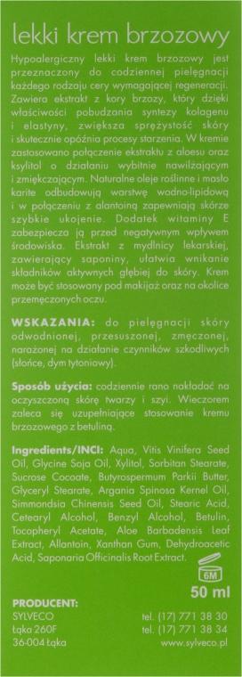 Crema leggera per viso, con betulla - Sylveco — foto N3