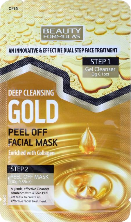 Set per la pulizia profonda del viso - Beauty Formulas Deep Cleansing Gold Peel Off Facial Mask
