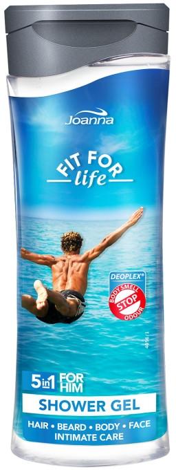 Shampoo-gel 5 in 1 - Joanna Fit For Life 5in1 Shower Gel For All Body Odour Stoper For Men