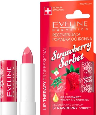 """Balsamo labbra """"Sorbetto alla fragola"""" - Eveline Cosmetics Lip Therapy Proffesional Regenearting Lip Balm Strawberry Sorbet"""