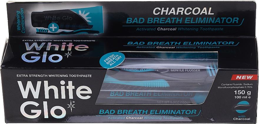 """Set """"Alito fresco"""" con spazzolino nero-blu - White Glo Charcoal Bad Breath Eliminator (t/paste/100ml + t/brush/1) — foto N1"""