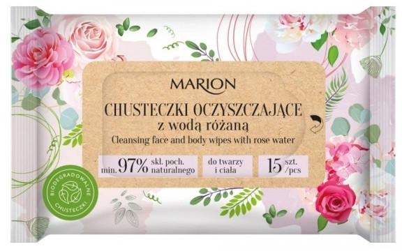 Salviette detergenti per viso e corpo con acqua di rose, 15 pezzi - Marion