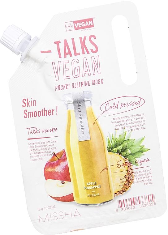 Maschera esfoliante da notte - Missha Talks Vegan Squeeze Pocket Sleeping Mask Skin Smoother