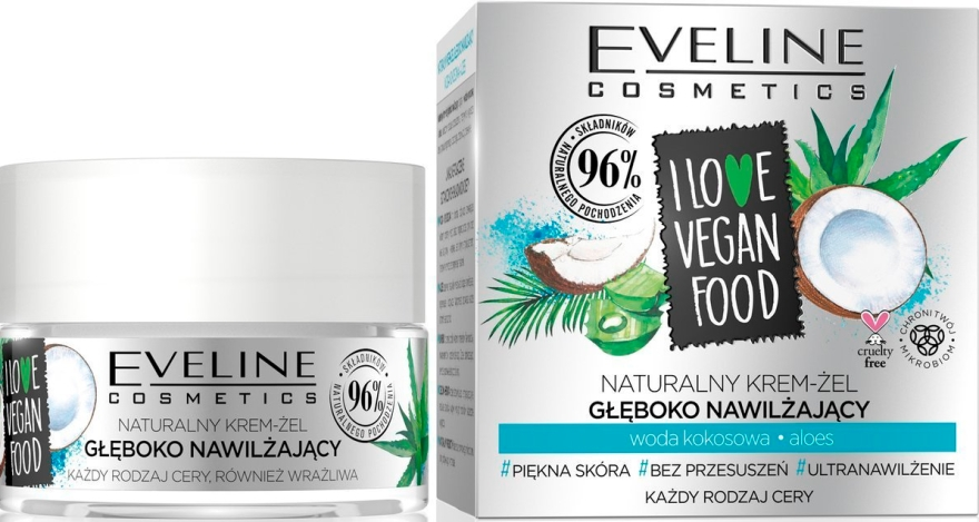 "Crema-gel viso ""Aloe e acqua di cocco"" - Eveline I Love Vegan Food Face Kream"