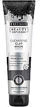 Profumi e cosmetici Maschera purificante per il viso, con carbone attivo, probiotici e siero - Freeman Beauty Infusion Cleansing Clay Mask Charcoal & Probiotics