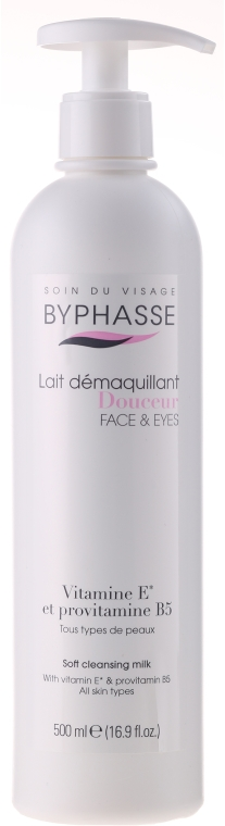 Latte struccante con dosatore - Byphasse Soft Cleansing Milk Face & Eyes All Skin Types (pompa)