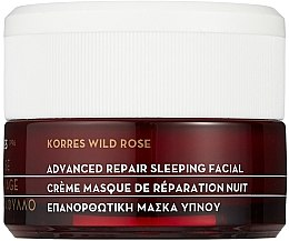 Profumi e cosmetici Crema- maschera rigenerante, da notte - Korres Wild Rose Advanced Repair Sleeping Facial