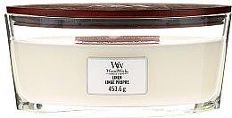 Profumi e cosmetici Candela profumata in vetro - Woodwick Hearthwick Flame Ellipse Candle Linen Linge Propre