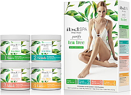 Profumi e cosmetici Set prodotti al estratto dell'albero di tè - IBD Spa Pro Pedi Tea Tree Purify Spa Intro Kit (soak/180g + scr/180g + mask/120ml + lot/124ml)