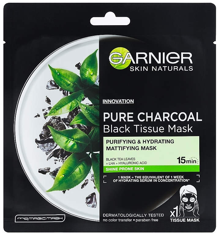 "Maschera viso in tessuto ""Carbone purificante"" per pelli grasse - Garnier Pure Charcoal Tissue Mask"