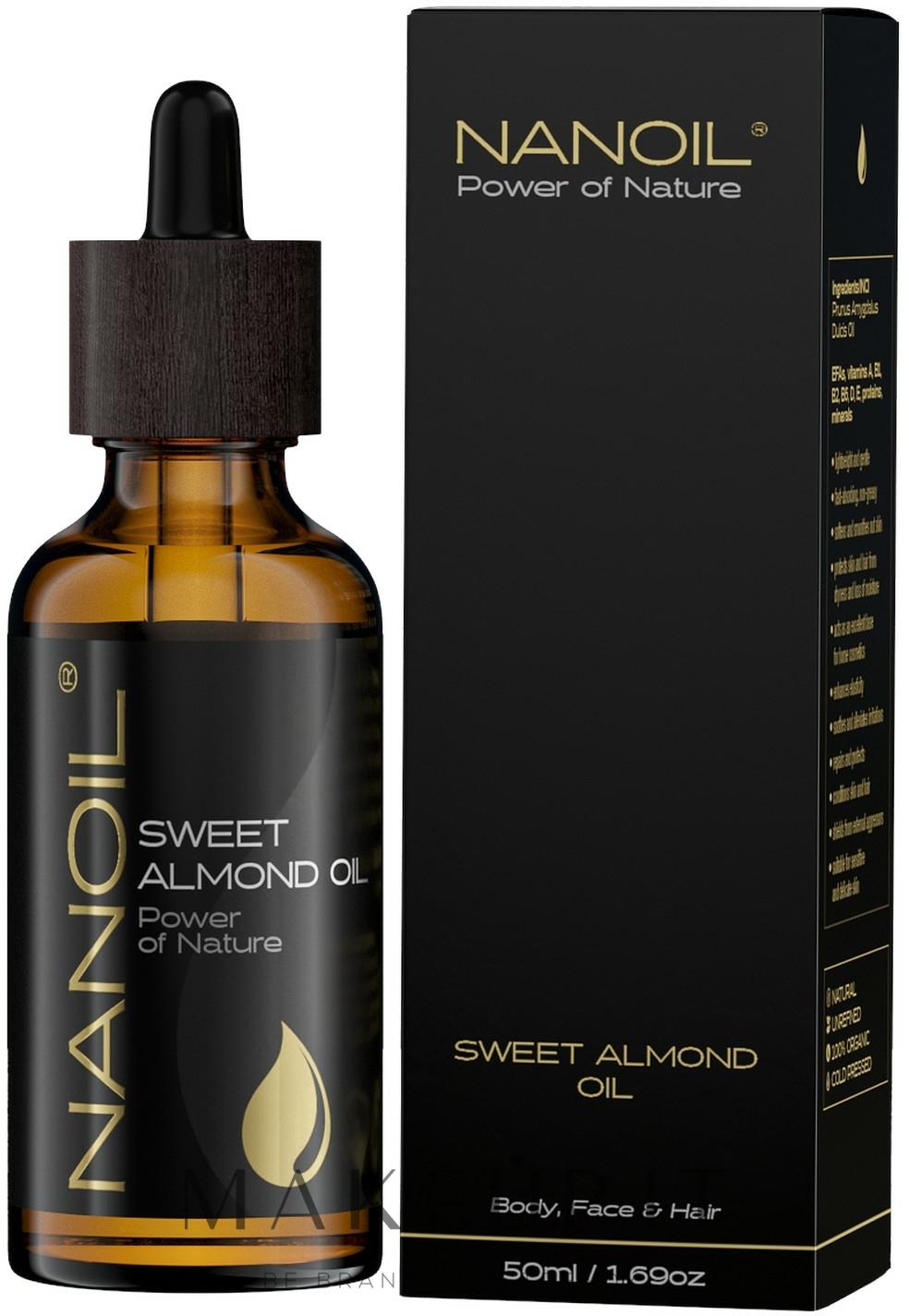 Olio di mandorle - Nanoil Body Face and Hair Sweet Almond Oil — foto 50 ml
