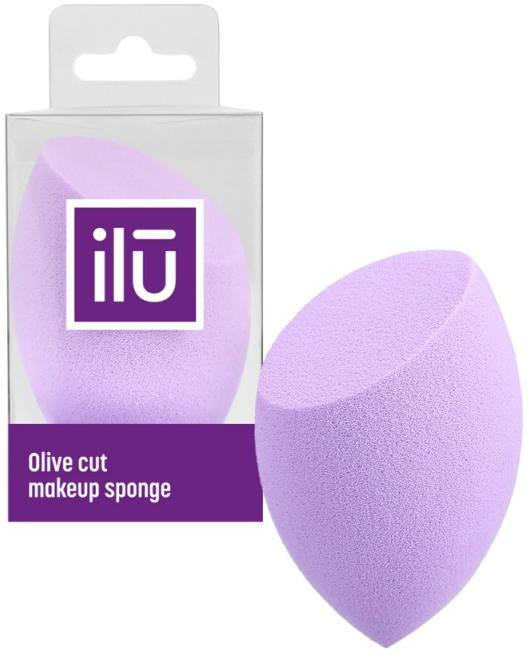Spugna trucco con taglio piatto, viola - Ilu Sponge Olive Cut Purple